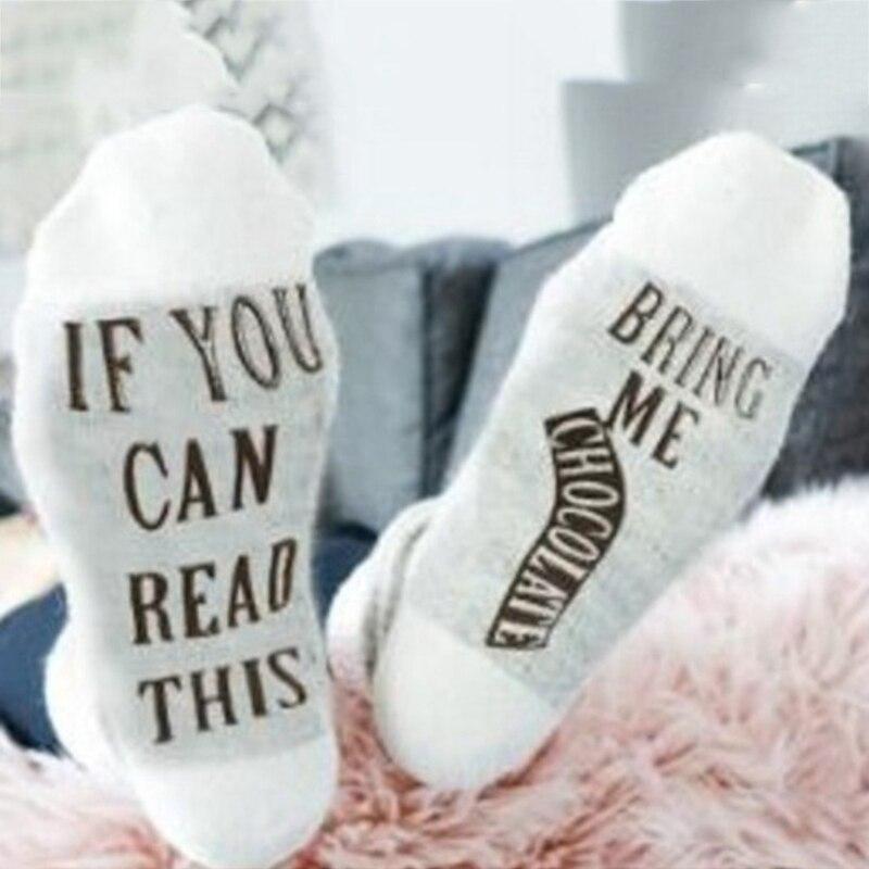 bf1c544e3bc0 2018 Unisex Couple Funny Sock Warm Xmas Christmas Socks Pink Color  Chocolate Letter Print Cotton Wine Socks