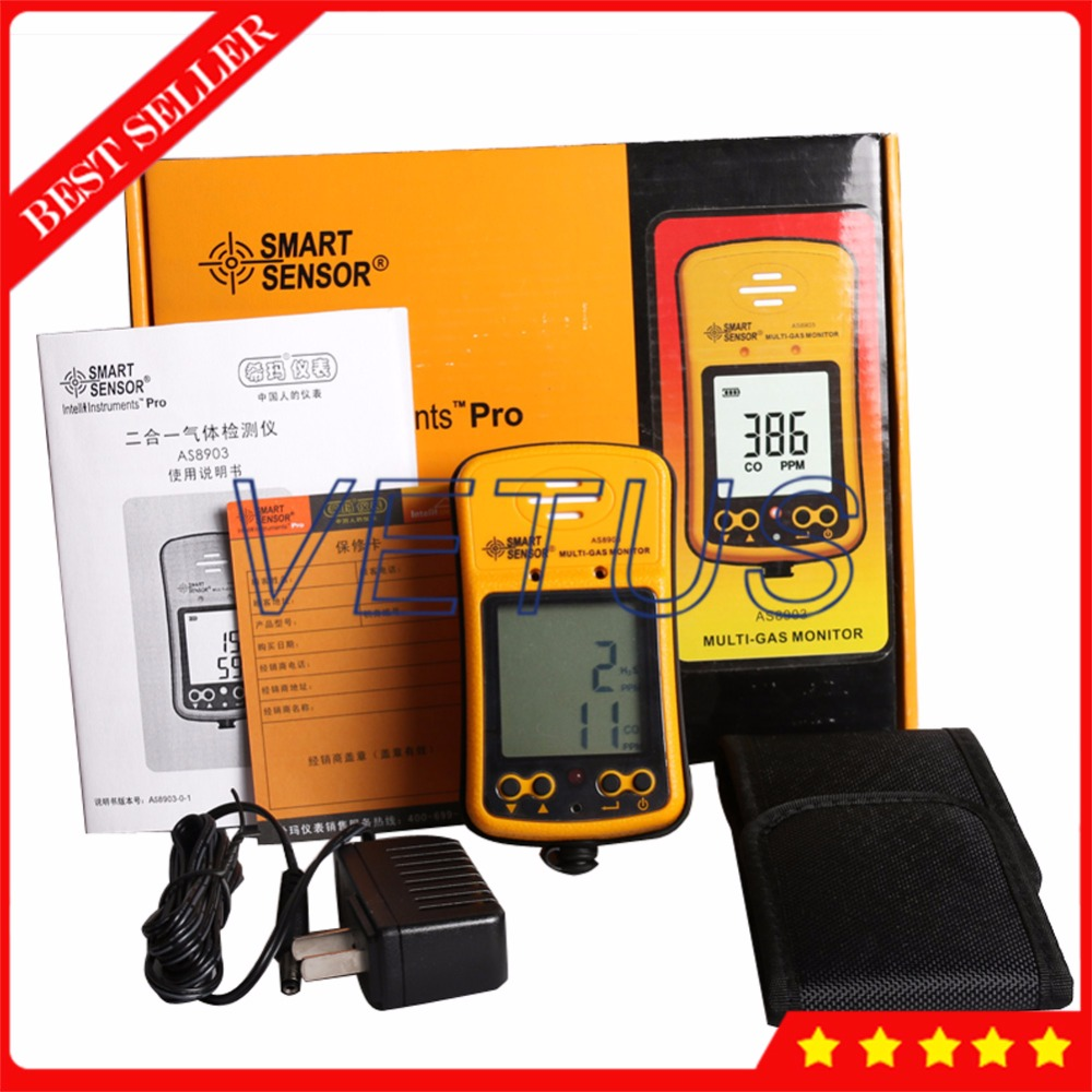 AS8903 2 in 1 multifunction gas analyzer portable h2s gas detector with digital tester Carbon Monoxide Meter