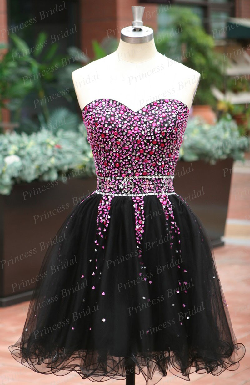 f12ef5cbbf697 Free Shipping Sparkle Ball Gown Puffy Sweetheart Lace Up Back Black Tulle  Bling Bling Short Prom Dress With Beadings JK542