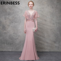 Sexy Mermaid Pink Sequined Evening Dresses Sexy V Neck Cap Sleeve Sweep Train Formal Party Gowns For Women