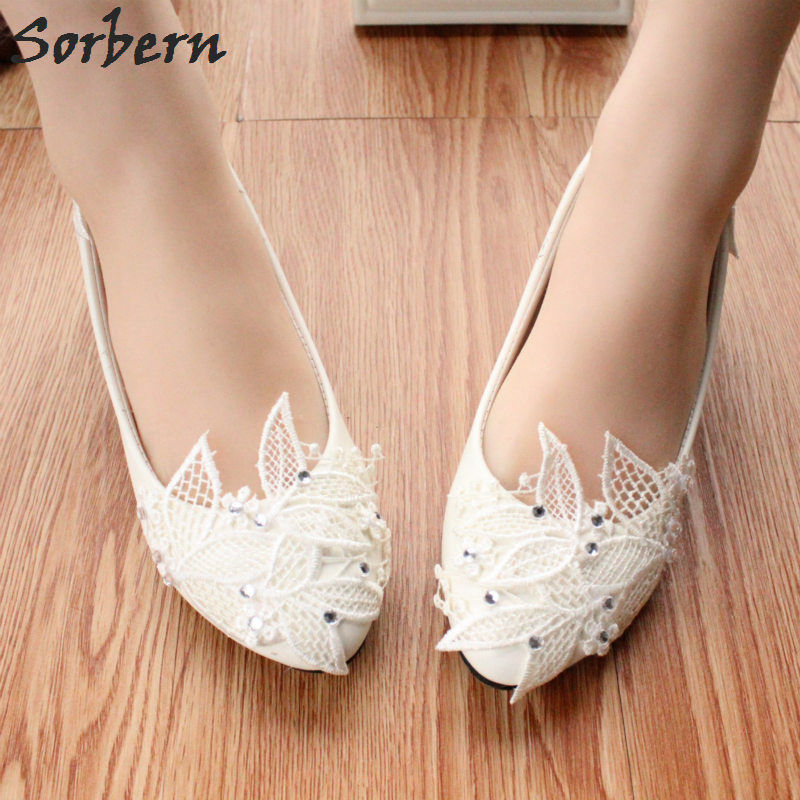 Sorbern White Lace Leaves Clear Crystal Wedding Shoes Low
