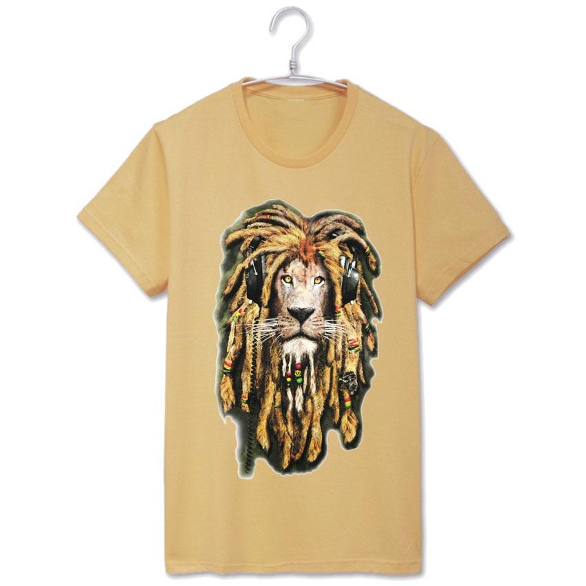 hand painted style reggae music lion bob marley jamaica fashion rasta full  moon party t shirt-in T-Shirts from Men s Clothing on Aliexpress.com  edd396942