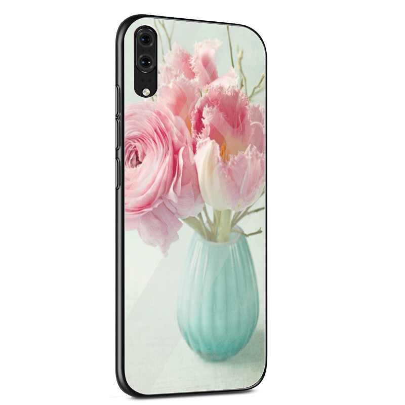 Cam Huawei onur 7A 8X P10 P30 P20 Mate 20 Pro 9 10 Lite Y6 başbakan Y9 P akıllı kapak pembe çiçek şakayık vazo