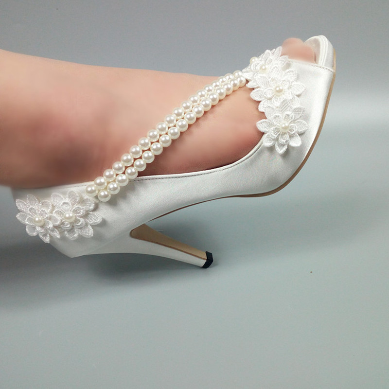 New Peep Toe Pearl Womens Wedding Shoes Open Side Ladies