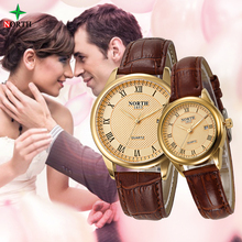Северная любителей смотреть мода пару платье наручные часы Повседневное кожа Водонепроницаемый Часы мужской Для женщин спортивные часы Любители часы Для мужчин