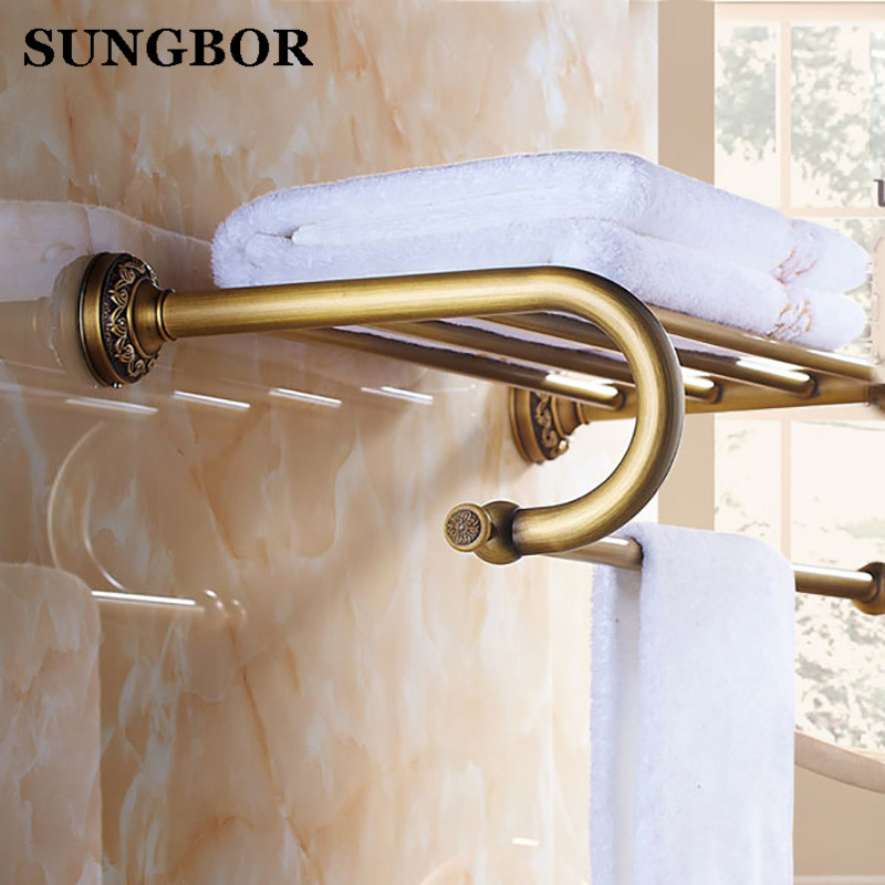 Luxury Bathroom Wall Mounted Brass Bath Towel Shelf Antique Style Towel Rack with Towel Bar Bathroom Accessory ZL-8512F nail free foldable antique brass bath towel rack active bathroom towel holder double towel shelf with hooks bathroom accessories
