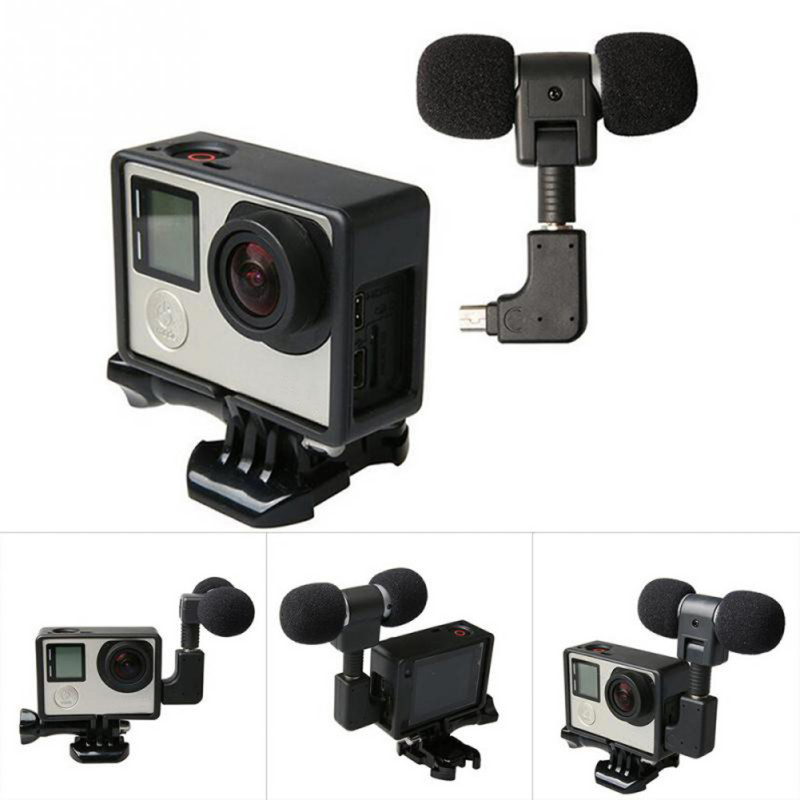 Mini Stereo Microphone For Hero4 Standard Protective Frame Case Cable Cord  3.5mm Mic Adapter For Gopro Hero 4 3+ 3 USB