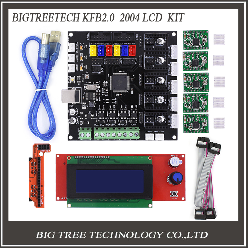 BIQU KFB2.0 Control Board Motherboard Reprap Controller Main board +2004LCD Board For 3D Printer Heatbed
