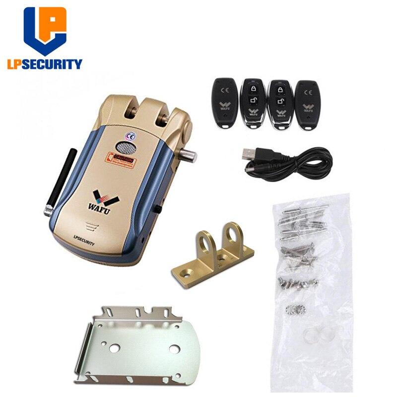 LPSECURITY télécommande sans fil serrure électronique Invisible sans clé serrure de porte d'entrée avec 4 télécommandes - 4