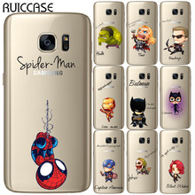 Avengers Marvel Heroes นุ่ม TPU กรณีสำหรับ Coque Samsung Galaxy S5 Mini S6 S7 Edge S8 S9 S10 Plus E หมาย(China)