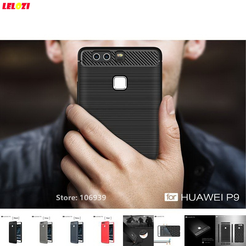 LELOZI Soft TPU Silicone Rubber Armor Rugged Carbon Fiber Brushed Men Coque Etui Case carcasa capa For Huawei P9 EVA-L29 EVA-L09