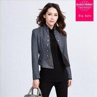 2018 Spring New Vintage Women patchwork short blazer Jacket ladies long sleeve Suit Blazer outerwear Slim Coat Blazer L314