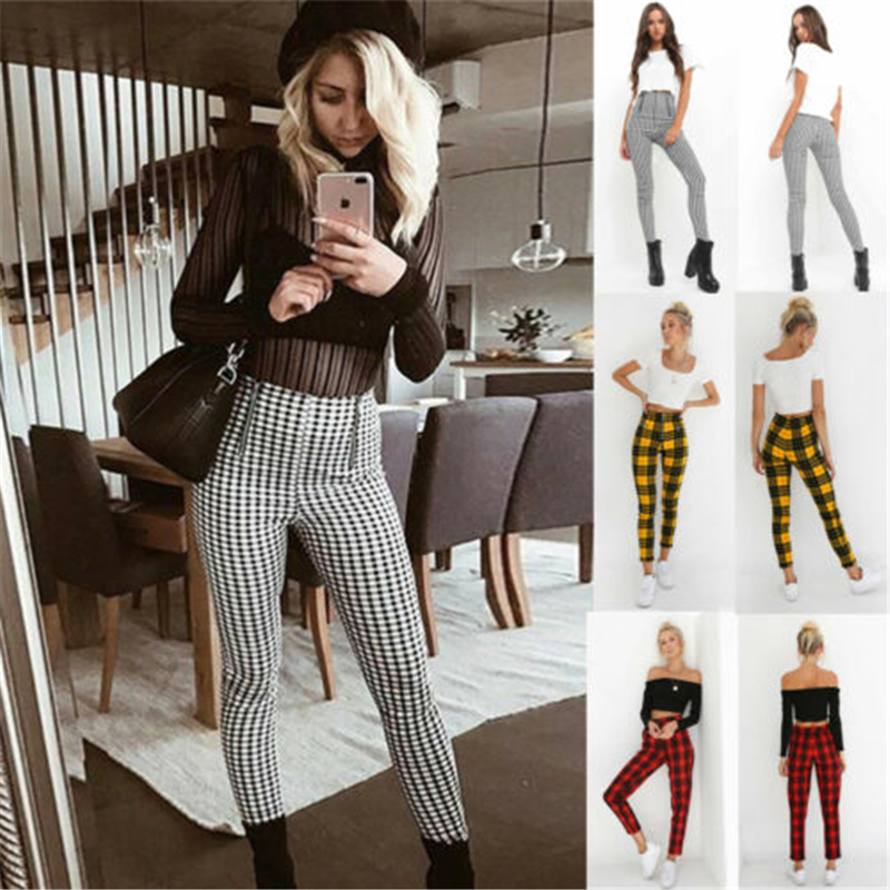2019 Black White Zip-up Plaid Sexy Pants Sweatpants Women Side Stripe Trousers Sexy High Waist Penicl Pants