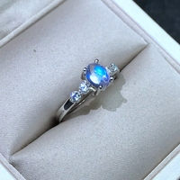 Uloveido Natural Moonstone Anniversary Ring 925 Sterling Silver Gemstone Ring, Girl Women Engagement Wedding Ring 20%off FJ274