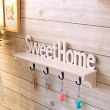 Sweet Home Shelves Hat Key Holders 4 Hooks Storage Shelf Hanging Wall Mounted Holder Rack Hanger Decor