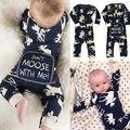 Infantil Baby Girl Boy Alce Romper Bonito Dos Desenhos Animados Macacão Pijamas de Natal Outfits Roupas