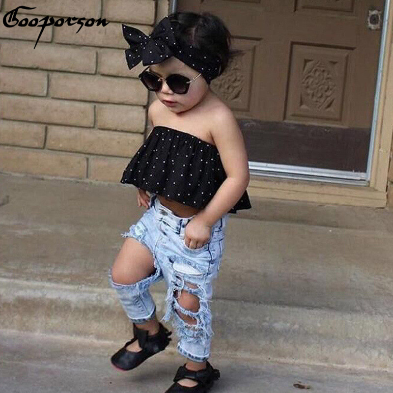 Hot Sale 2017 Girls Clothes Set 3 pcs Blouse Shirt & Hair Band& Ripped Jeans Hole Baby Girls Clothing Set Summer Drop Shipping