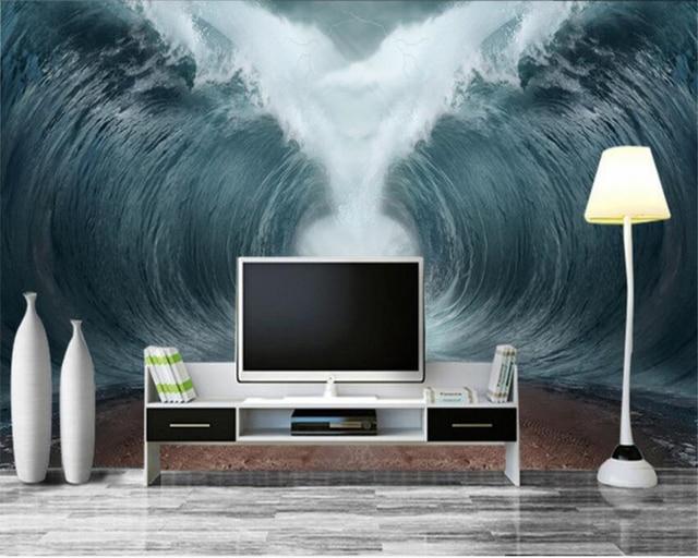 AuBergewohnlich Beibehang Modische Fantastische Persönlichkeit Tapete Welle Raging Tsunami  TV Innen Schlafzimmer Hintergrund Wall3d Tapete Tapety