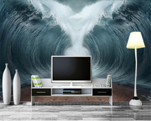 beibehang Fashionable fantastic personality wallpaper wave raging tsunami TV indoor bedroom background wall3d tapety