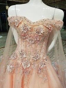 Image 3 - Vestido de noche corto con capa larga de encaje hacia arriba apliques de espalda rosa y azul vestidos de fiesta abendkleider 2020 fotos reales