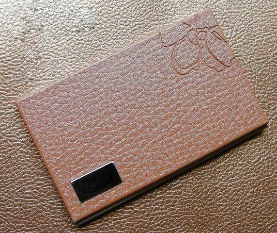 10 шт./партия,, нержавеющая сталь+ искусственная кожа, бедж, держатель для удостоверения личности, визитница, oem-изделия с логотипом заказчика NMS012 - Цвет: brown