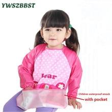 Sıcak Yeni Çocuk Cep bebek Todders Ile Smock Uzun Kollu Su Geçirmez Sanat Smock Önlükler Önlük Çocuklar Besleme Anti-soyunma giyim