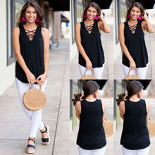 2019 Womens Summer Tops Strappy Sleeveless Shirt Casual Loose Tank Cotton Black