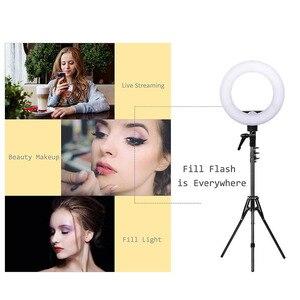 Image 5 - ZOMEI 14 אינץ Dimmable LED טבעת אור טלפון מחזיק מצלמה תמונה וידאו תאורת ערכת איפור Smartphone Youtube וידאו ירי
