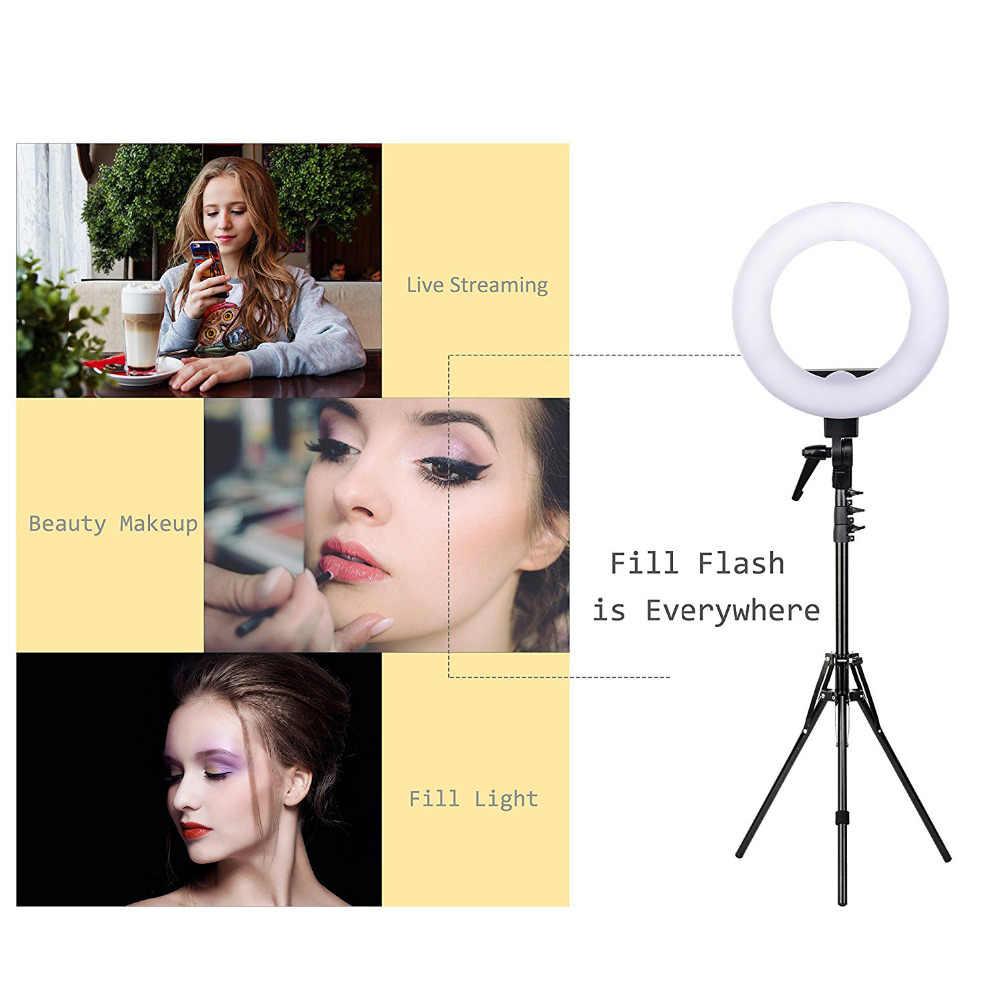 Zomei 14 polegada pode ser escurecido led anel de luz suporte do telefone câmera foto kit iluminação vídeo para maquiagem smartphone youtube vídeo tiro