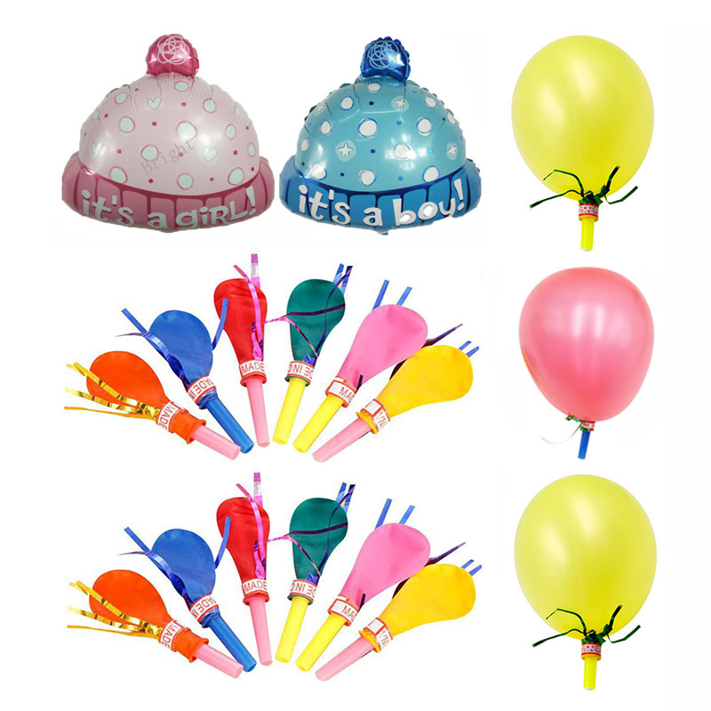 Children Cartoon Hats With Golden Whistle Balloons For Party Supplies,Clown Props Adult Party Games Kids Toys Ballon Party Cap