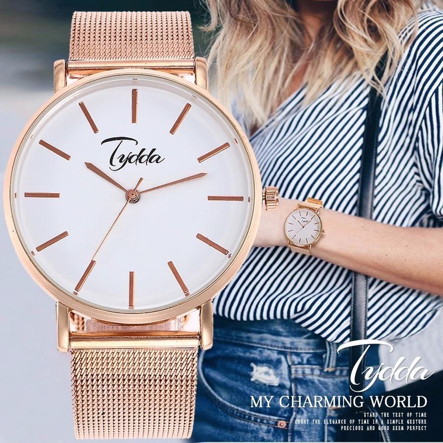 Tydda Women Gold Mesh Horloges Ultradunne Stainless Steel Quartz - Dameshorloges