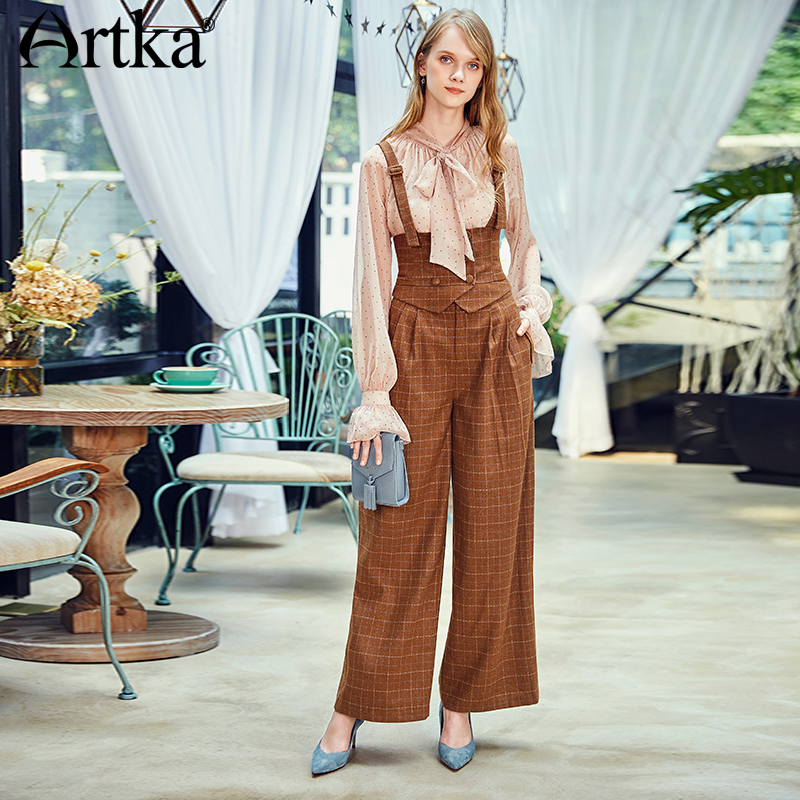 ARTKA 2018 Autumn New Casual   Pants   All-match Two Wear Stretch Elastic Waist Strap Overalls   Wide     Leg     Pants   KA10183Q