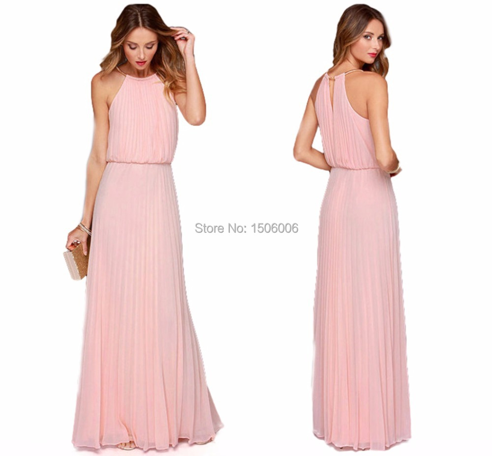Pink Chiffon Sleeveless Bridesmaid Dresses 2017 New Arrival High Quality Maid Of Honor Gowns Best Choice Gown Ax040 In From