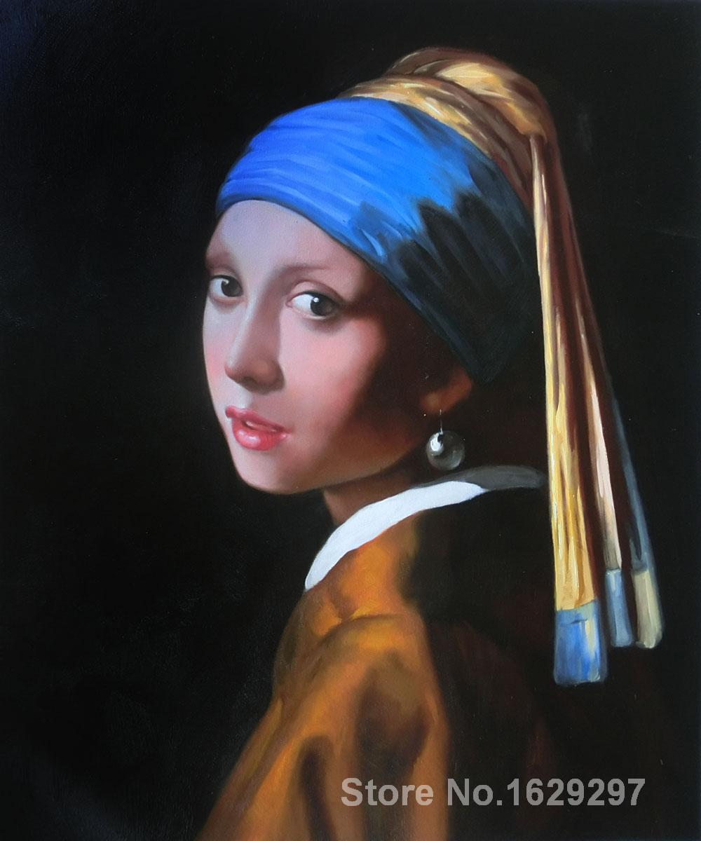 Portrait Painting Girl With Pearl Earring By Johannes Vermeer Canvas High  Quality Hand Painted(china