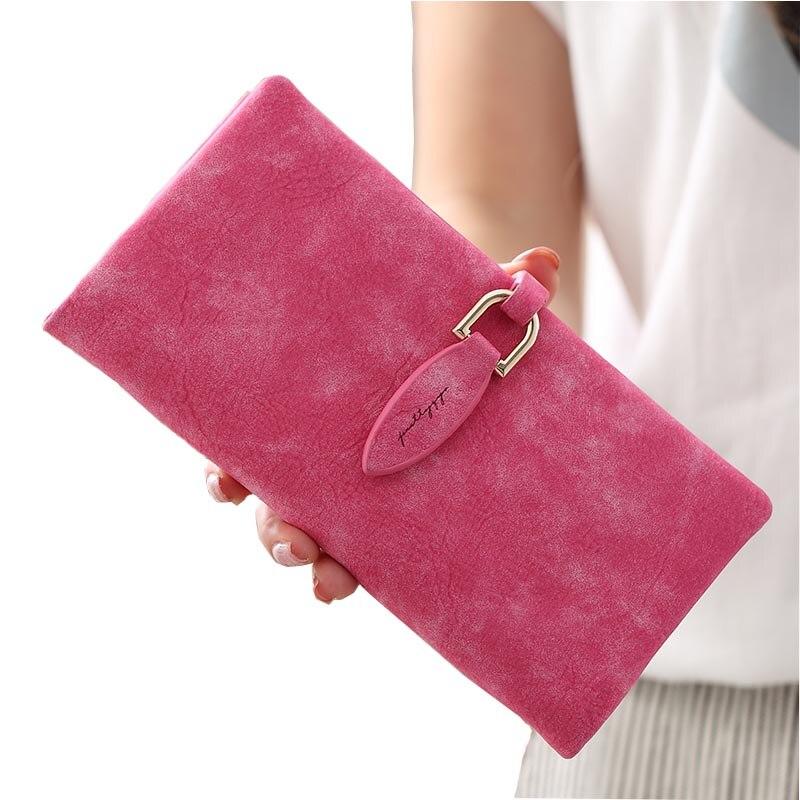 Portefeuille femmes sac à main Long pochette femme givré rétro monnaie portefeuilles marque de luxe dame téléphone poche grande capacité porte-carte