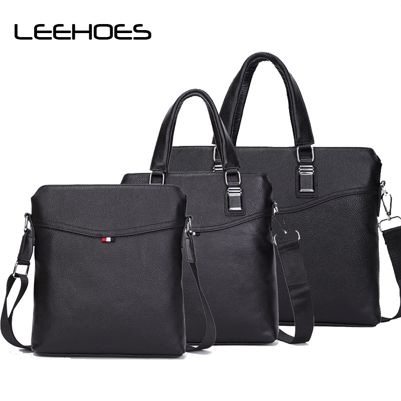 Genuine Leather Men Business Handbags Laptop Tote Briefcases Crossbody Bags Shoulder Handbag Men's Messenger Bag Size Set Bag zznick 2018 new men s messenger bag men genuine leather business bags laptop tote briefcases crossbody bag shoulder handbags