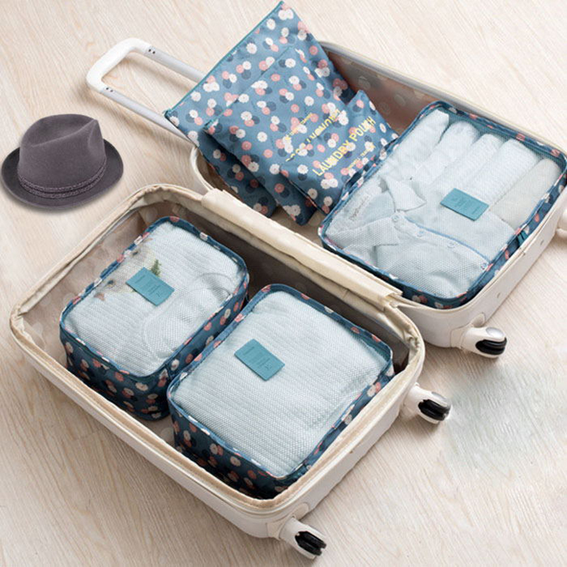 6pcs/set Fashion Nylon Packing Travel Bag Large Capacity Portable Clothing Shoes Sorting Storage Organize Bag Makeup Pouch