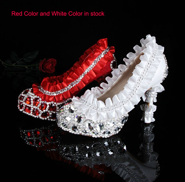 Luxury High-heeled Rhinestone Wedding Dress Shoes Diamond Woman Formal Dress Shoes Bridal Shoes Bridesmaid Evening Party Shoes new flower female bridesmaid shoes wedding shoes bridal shoes red high heeled shoes formal dress new arrive platform pumps
