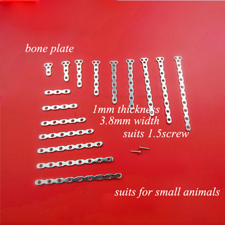 Medical orthopedics instrument stainless steel plate T-type&straight plate for pets&animal medical orthopedics fracture macromolecule fixed support first aid assula for animal