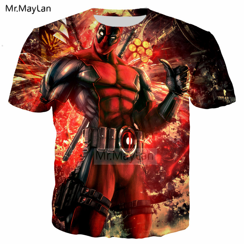 Funny Design Movie Deadpool 3D Print Tshirt Men/Women Hiphop Streetwear Tee T shirt Boys Cool Tops Red Clothes Drop shipping 6XL