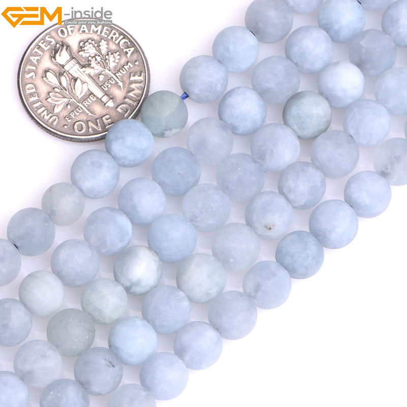 Gem-inside 6-12mm Natural Round Blue Aquamarines Stone Precious Matte Frosted Beads for Jewelry Making DIY Valentine Gift