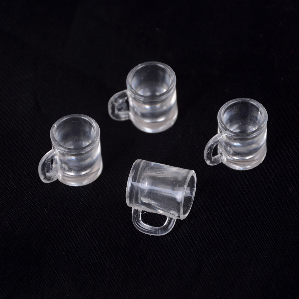 4Pcs 1/12 Dollhouse Miniature Resin Beer Mugs Cup Classic Toys Pretend Play Classic Toys For Children Kids Christmas Gift