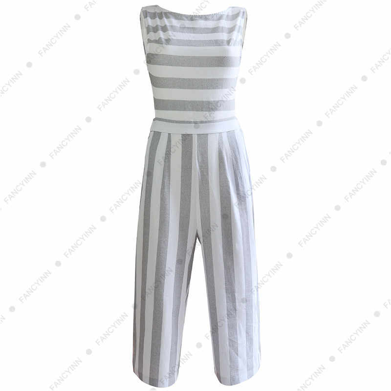 ed6627590ee0 ... High Quality Cotton Linen Striped Jumpsuits Romper 2018 Women Sets One  Pieces Fitness Wide Leg Lady ...
