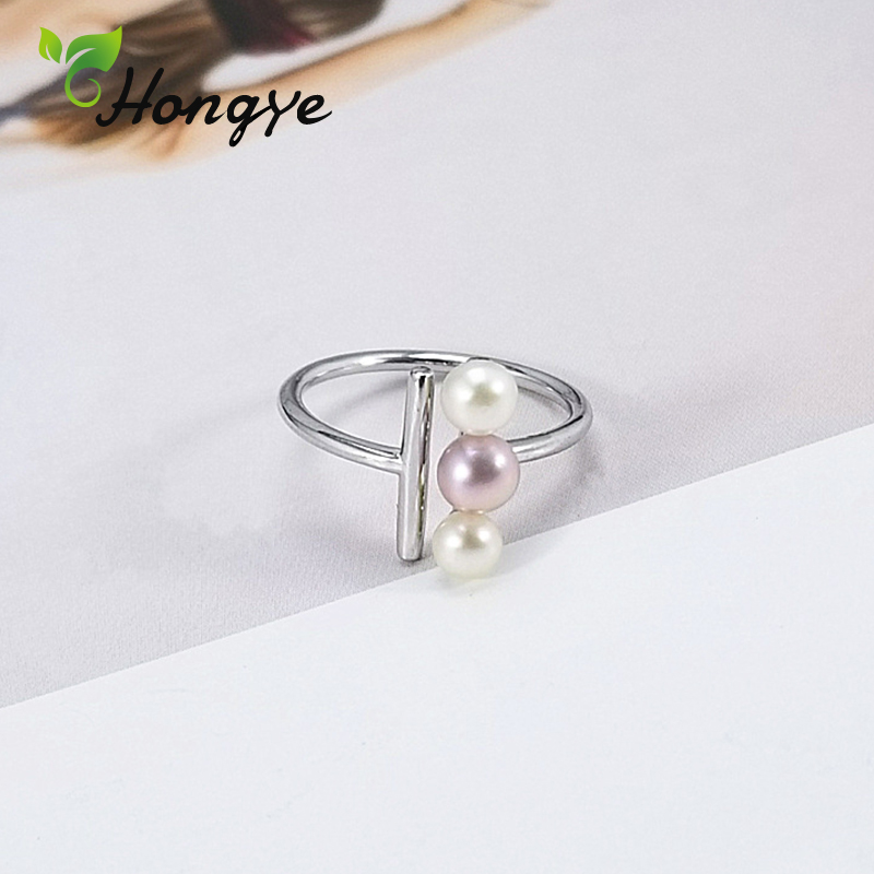 Hongye Natural Pearl Ring Girls Adjustable Beaded Finger Accessories Silver 925 Jewelry Personalized Birthday Gifts Ladies Ring
