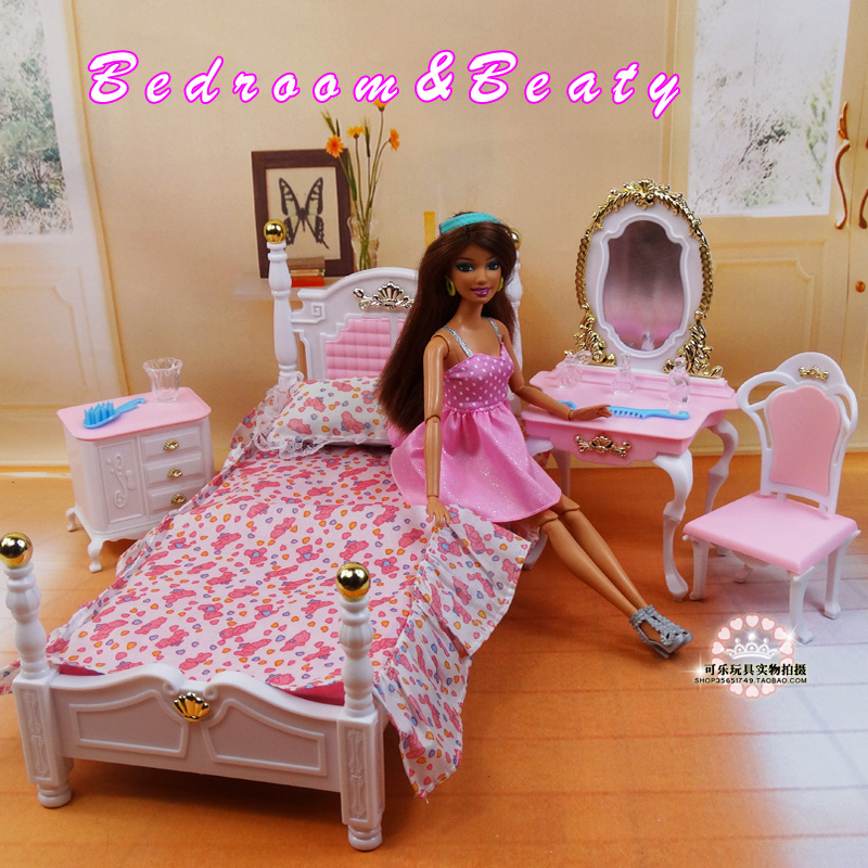 Doll Furniture For Barbie Doll Girl Birthday Gift DIY Toys Pink Princess Bed Dresser Cupboard Doll Accessories