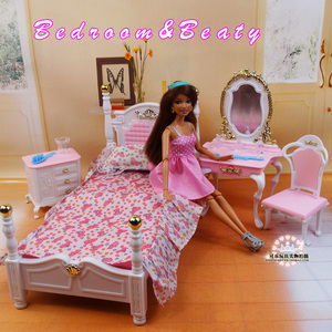 Image 2 - Genuine furniture bedroom for barbie princess bed doll accessories 1/6 bjd doll house mini dresser cupboard set child toy gift