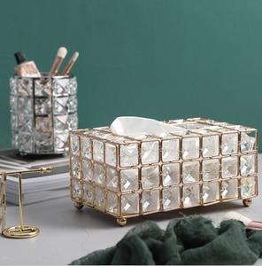 Image 2 - Light Luxury Gold plated Wrought Iron Tissue Box Living Room Storage Tray Napkin Holder Box For Creative Desktop Decoration