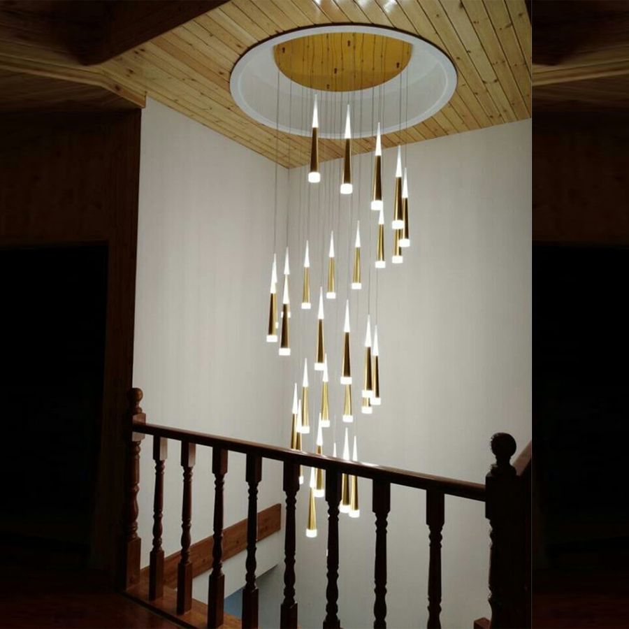 Moderne Lampe Suspendue pour Hôtel Escalier Suspendu Éclairage Pendentif Lampe Industrielle Style Escalier Lampes Pendentif Lumière Escalier