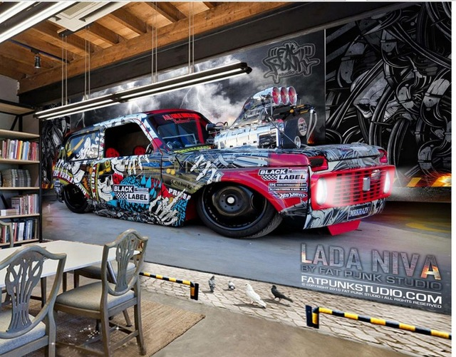 3d murals wallpaper for living room 3d wallpaper Graffiti car