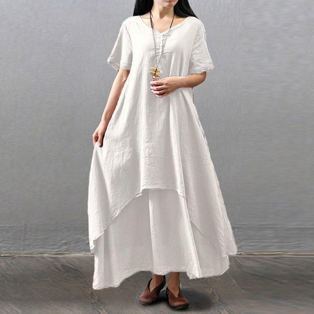 4XL 5XL Boho Women Short Sleeve Maxi Dress Summer Cotton Linen Loose Vintage Gown Robe Dresses Irregular Layered Kaftan Dress